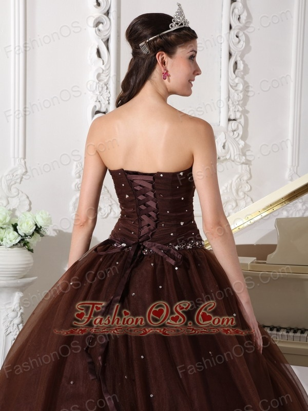 Modest Brown Quinceanera Dress Sweetheart Tulle Rhinestones Ball Gown