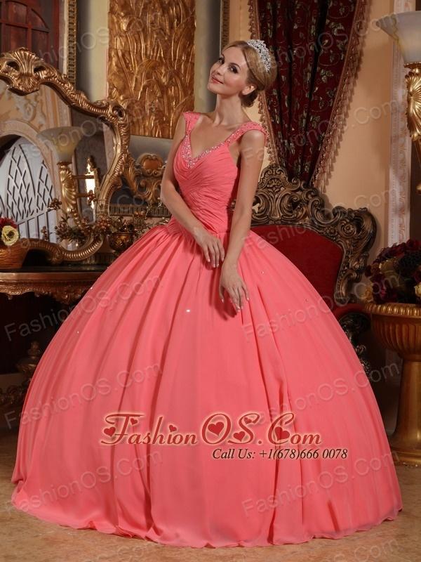 New Watermelon Sweet 16 Dress V-neck Chiffon Beading Ball Gown