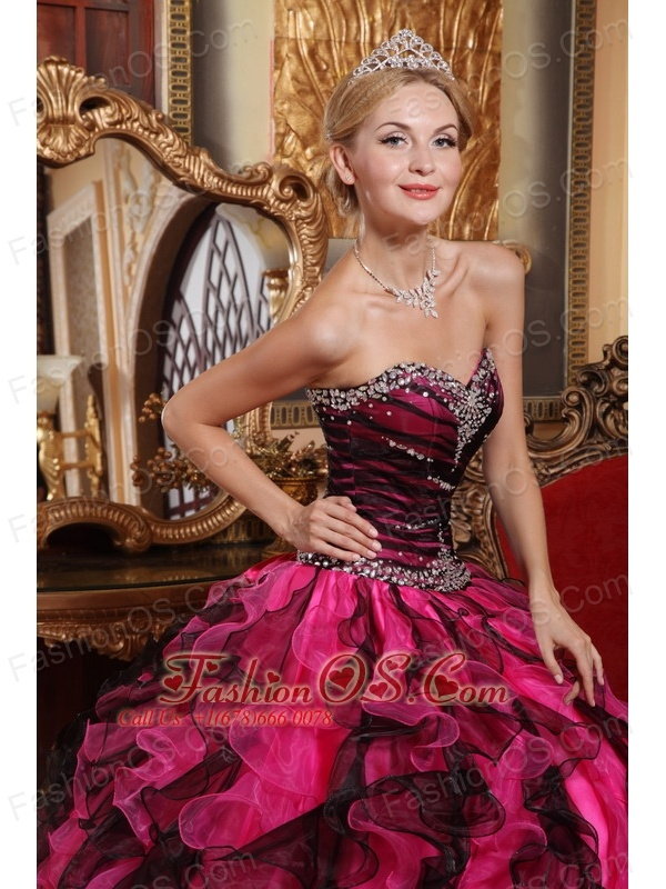Popular Black and Hot Pink Quinceanera Dress Sweetheart Organza Beading and Ruffles Ball Gown