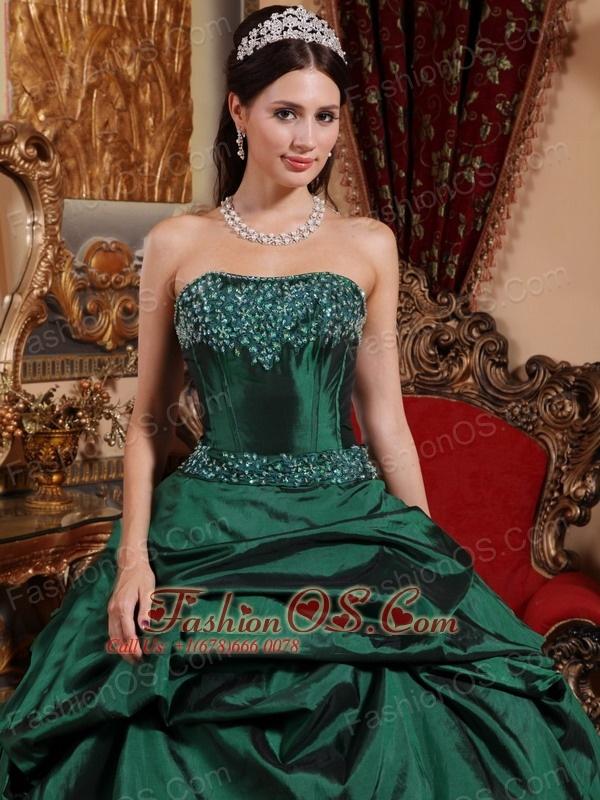 5586546078c Popular Emerald Green Quinceanera Dress Strapless Taffeta Beading Ball Gown