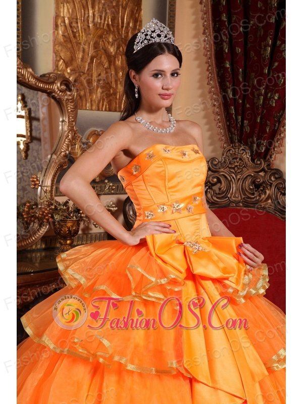 Popular Orange Quinceanera Dress Strapless Organza Ruffles Ball Gown