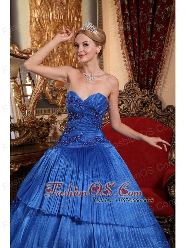 Pretty Royal Blue Quinceanera Dress Sweetheart Organza Ball Gown