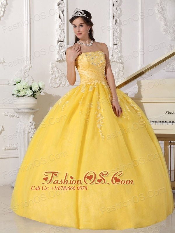 Romantic Yellow Quinceanera Dress Strapless Taffeta and Tulle ...