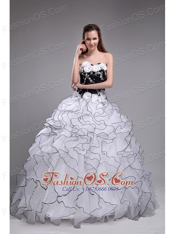 The Super Hot White Sweet 16 Dress Sweetheart Orangza Applqiues and Ruffles Ball Gown