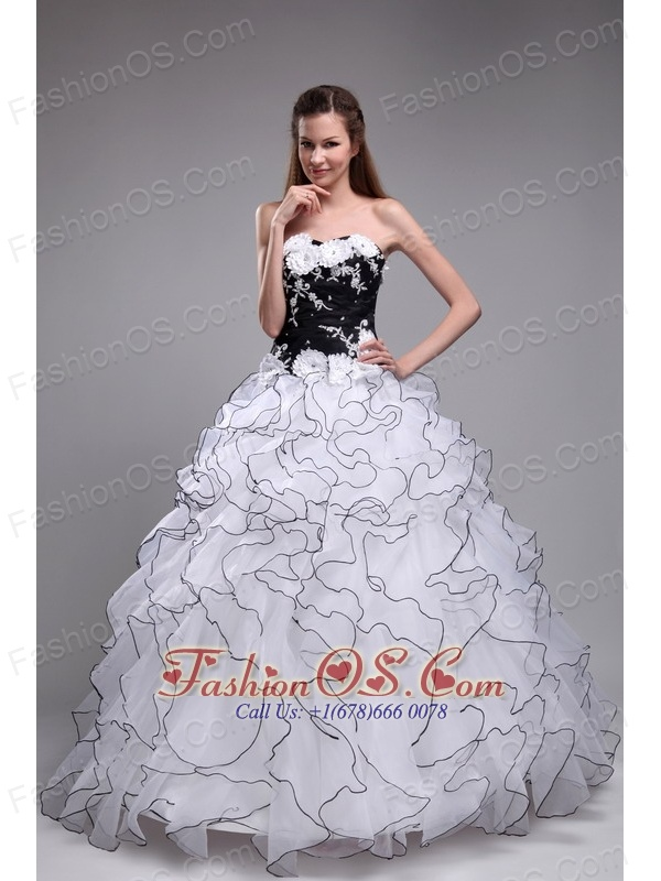 The Super Hot White Sweet 16 Dress Sweetheart Orangza Applqiues and ...