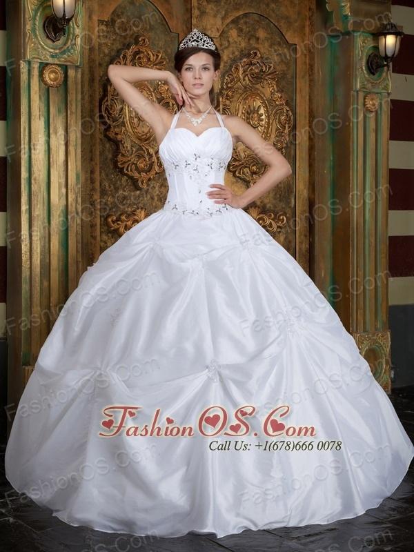 Vintage White Sweet 16 Dress Halter Taffeta Beading Ball Gown