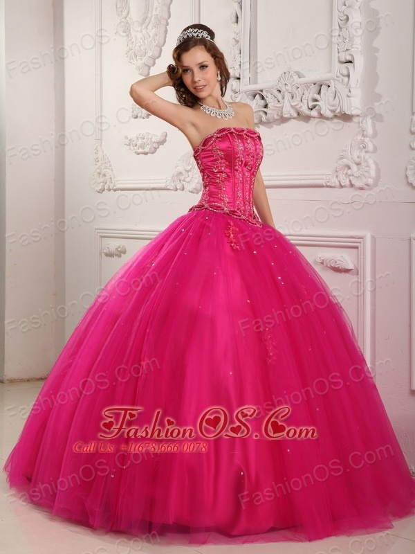 e01b6a75dcf Elegant Hot Pink Quinceanera Dress Strapless Tulle Beading Ball Gown