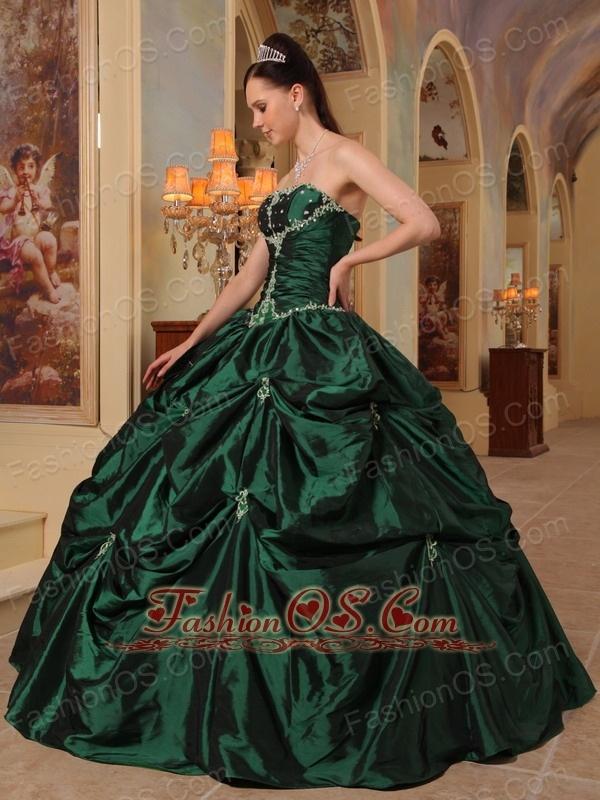 Latest Dark Green Quinceanera Dress Strapless Beading   Taffeta Ball Gown
