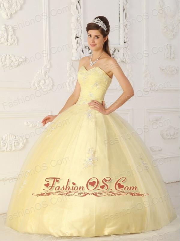 New Light Yellow Sweet 16 Dress Sweetheart Taffeta and Organza Appliques Ball Gown