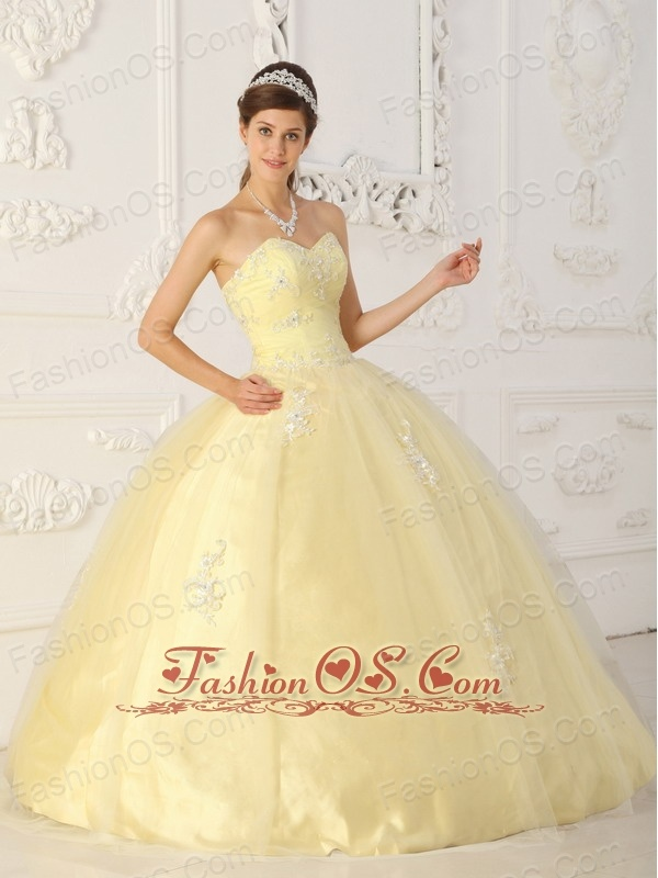 New Light Yellow Sweet 16 Dress Sweetheart Taffeta and Organza Appliques Ball Gown