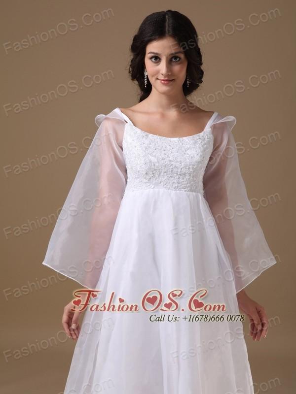 Beautiful A-line Scoop Organza Lace Maternity Wedding Dress
