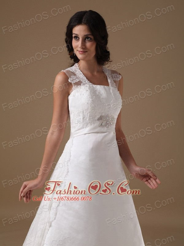 Beautiful A-line Square Court Train Taffeta and Lace Beading Wedding Dress