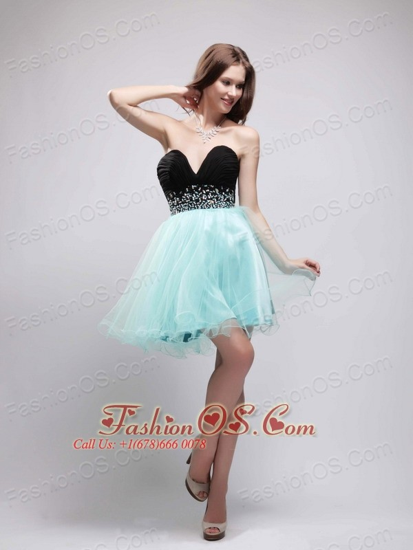 Black and Blue Sweetheart Mini-length Cocktail Dress with Beading