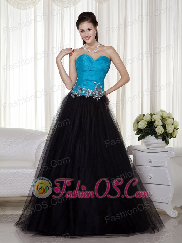 Blue and Black A-line Sweetheart Floor-length Taffeta and Tulle ...