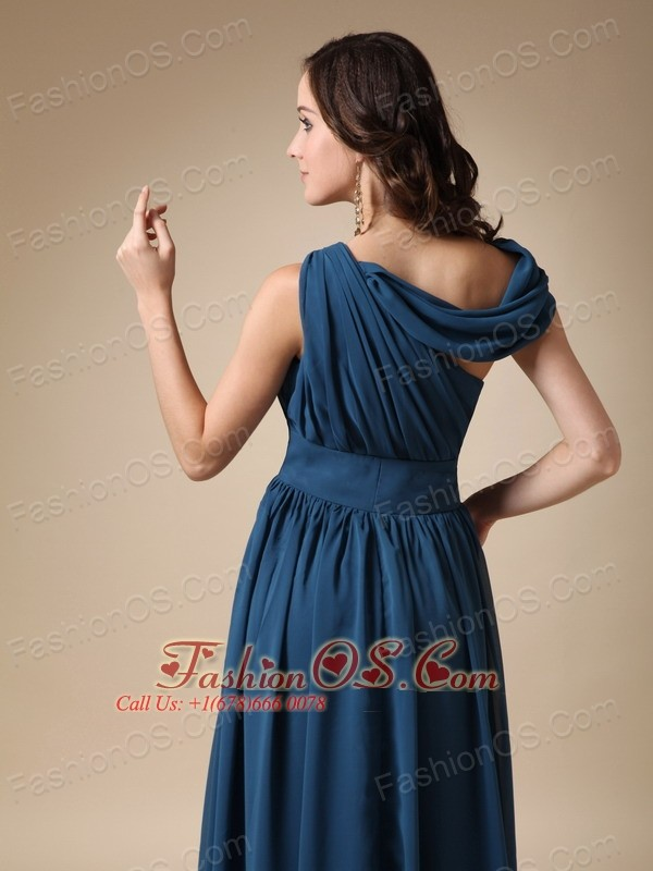 Navy Blue Empire Asymmetrical Floor-length Ruch Chiffon Prom / Evening Dress