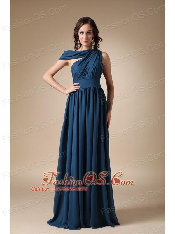 Navy Blue Empire Asymmetrical Floor-length Ruch Chiffon Prom / Evening Dress