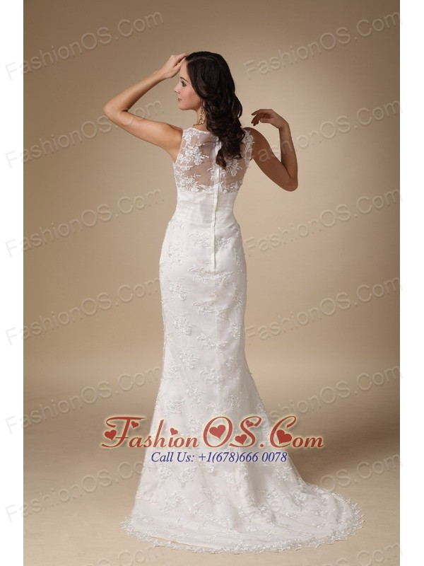 Cheap Column V-neck Brush Train Taffeta and Lace Wedding Dress