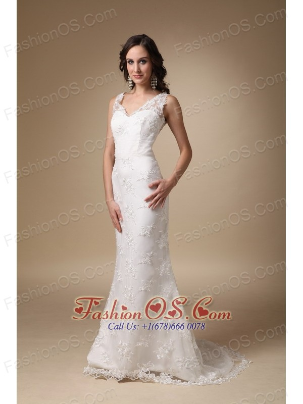 Cheap Column V-neck Brush Train Taffeta and Lace Wedding Dress