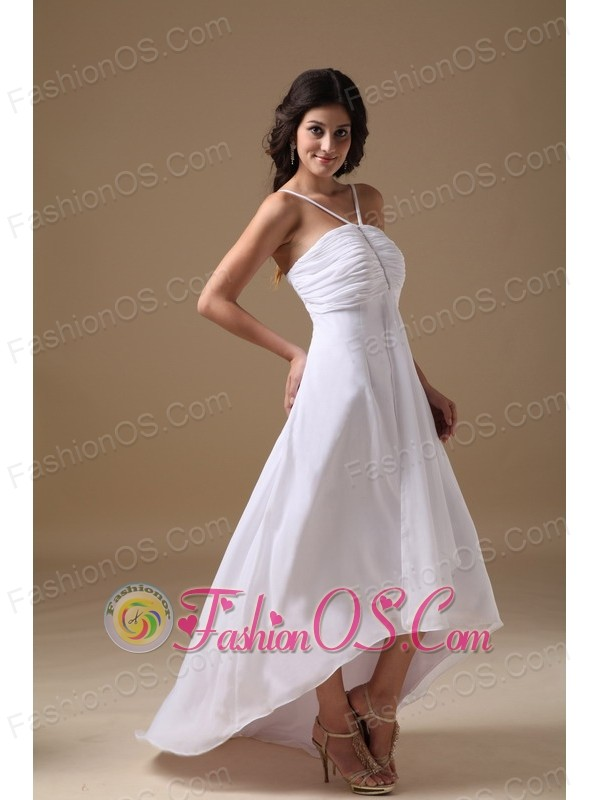 Cheap empire straps high low chiffon beading wedding dress for High low wedding dresses cheap