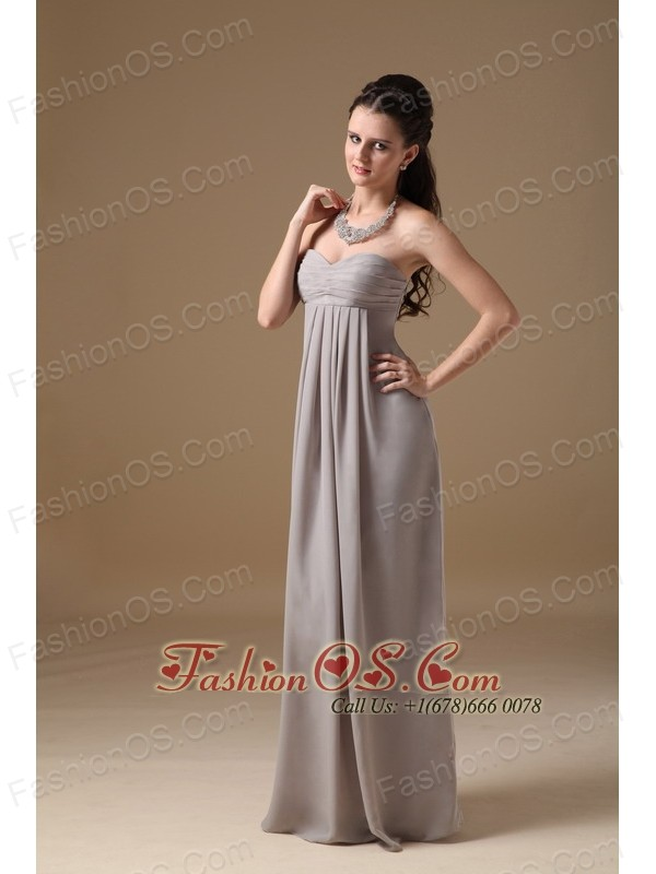 Grey Empire Sweetheart Floor-length Chiffon Ruch Bridesmaid Dress