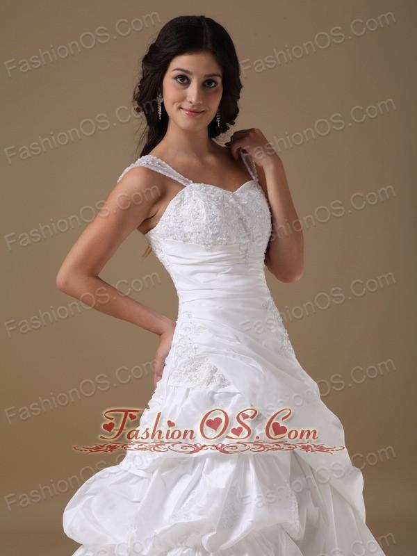 Modest A-line Straps Court Train Taffeta Appliques Wedding Dress