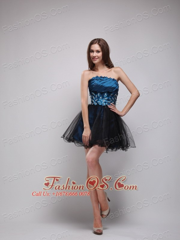 Navy Blue and Black Strapless Short  Rhinestone Cocktail Dress