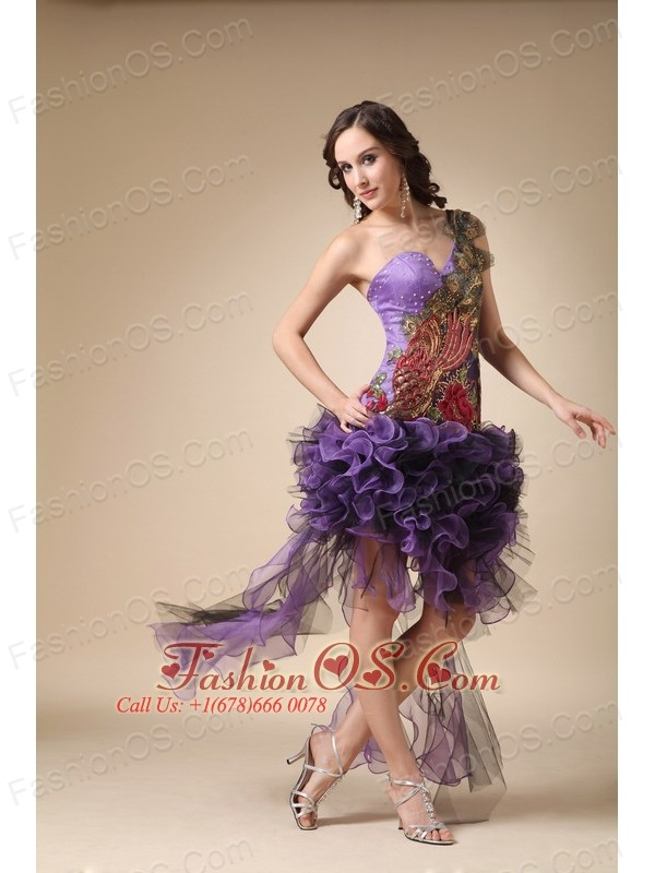 Purple Column One Shoulder High-low Evening Dress Satin and Organza Appliques