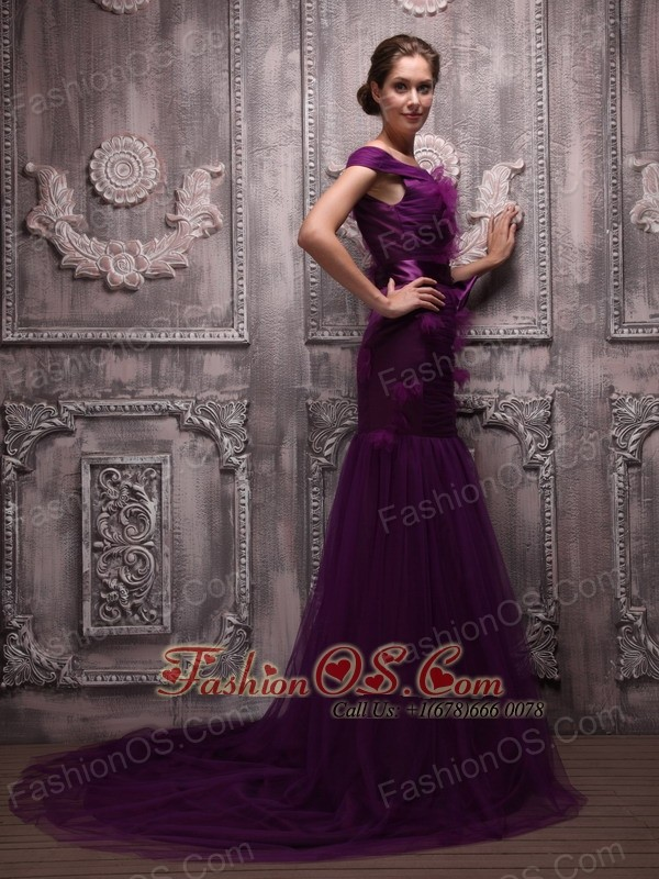 Purple Mermaid Off The Shoulder with Hand Made Flowers Mother of the Bride Dress