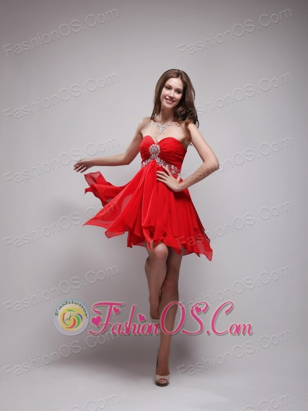Red Mini-length Cocktail Dress Sweetheart Neck Chiffon Beading