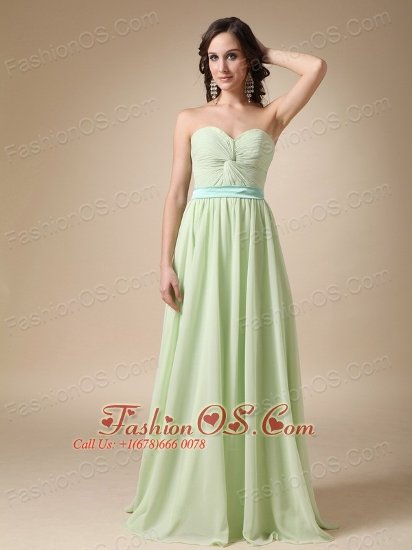 Apple Green Chiffon Empire Sweetheart Floor-length with Belt Bridesmaid Dress