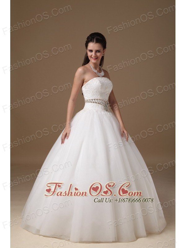 White Ball Gown Strapless Floor-length Taffeta and Tulle Beading and Lace Wedding Dress