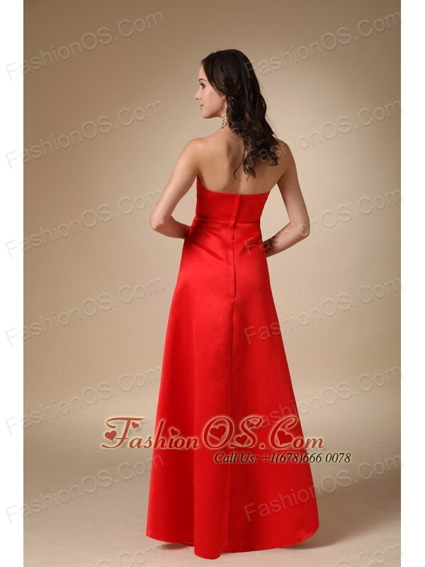 Wine Red A-line Strapless Floor-length Taffeta Beading and Ruch Bridesmaid Dress