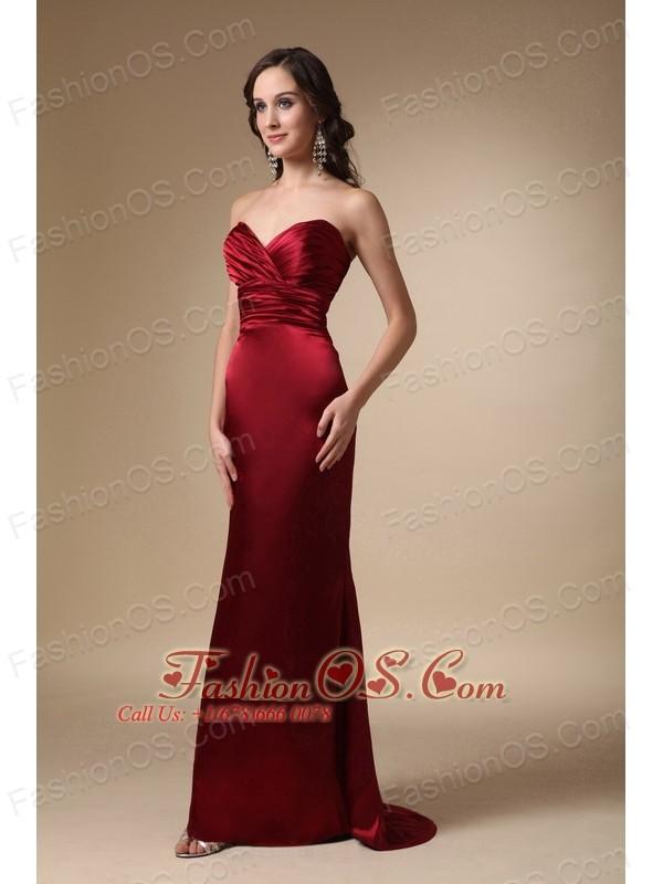 Wine Red Column Sweetheart Brush Train Satin Ruch Bridesmaid Dress