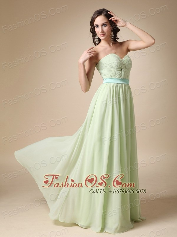 Yellow Green Empire Sweetheart Floor-length Belt Chiffon Prom / Evening Dress
