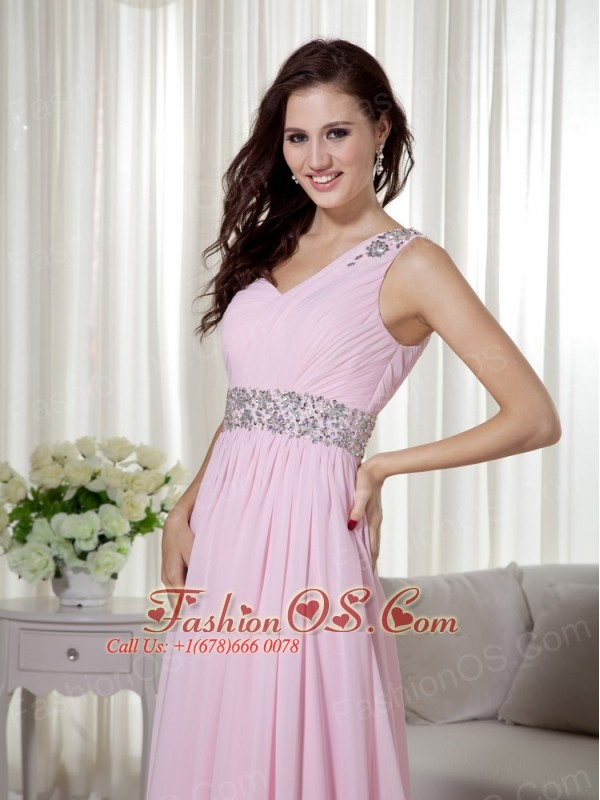 Baby Pink Empire One Shoulder Brush Train Chiffon Beading and Ruch Prom / Celebrity Dress