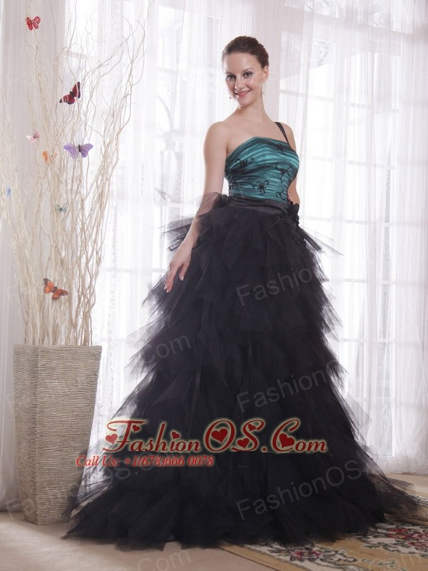 Black and Peacock Green A-line / Princess One Shoulder Brush Train Tulle Appliques and Ruch Prom / Celebrity Dress