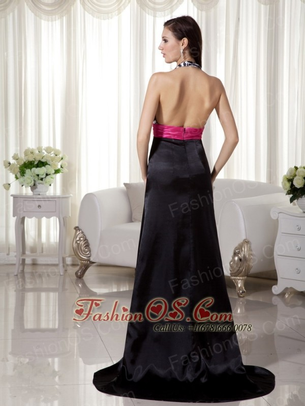 Black and Hot Pink Column / Sheath Halter Brush Train Zebra Prom Dress