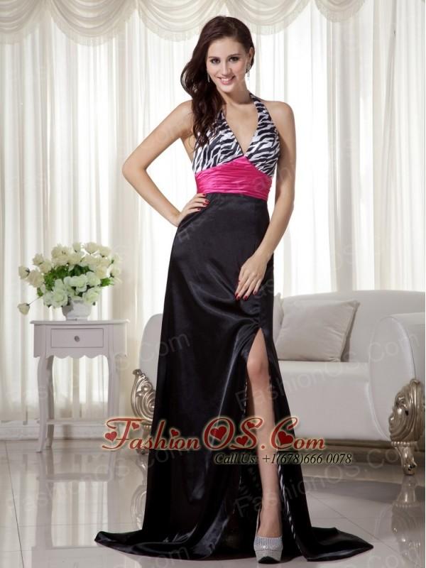 Black And Hot Pink Column Sheath Halter Brush Train Zebra Prom Dress