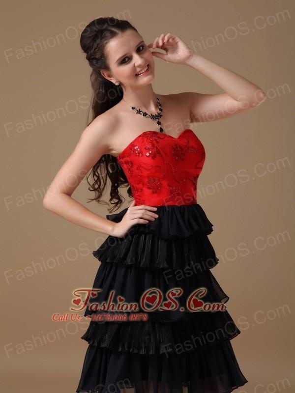 Black and Red A-line Sweetheart Knee-length Chiffon and Taffeta Beading Prom Dress