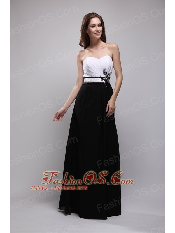 Black and White Column Sweetheart Floor-length Chiffon Appliques Prom / Evening Dress
