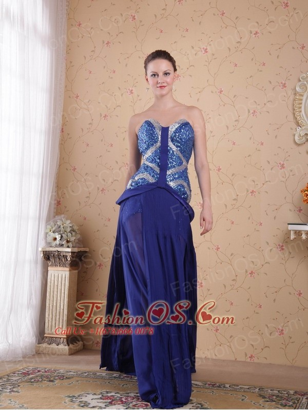 Royal Blue Empire Sweatheart Brush / Sweep Beading pleat Chiffon Prom / Party Dress