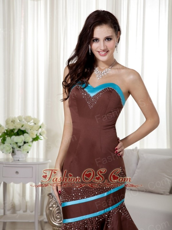 Brown and Blue Mermaid Sweetheart Satin Prom Dress with Asymmetrical Beading