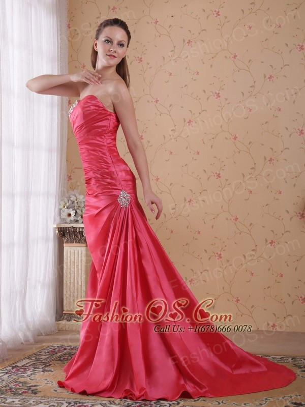 Coral Red A-line / Princess Sweetheart Court Train Taffeta Beading and Ruch Prom / Celebrity Dress