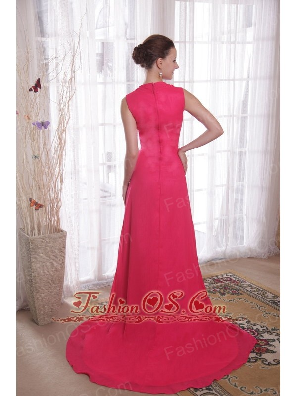 Coral Red Empire V-neck Brush /Sweep Beading Chiffon Prom/Party Dress