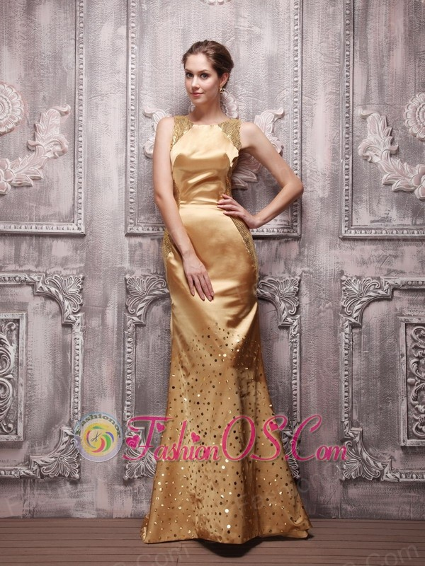 Gold Column Bateau Brush Train Sequin Beading Prom / Evening Dress