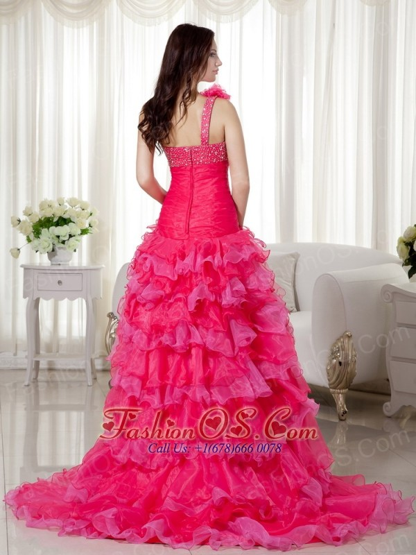 Hot Pink A-line One Shoulder Brush Train Organza Beading Prom / Evening Dress