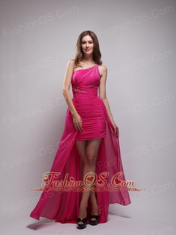 Hot Pink Asymmetrical One Shouleder Brush Train Chiffon Beading Prom ...