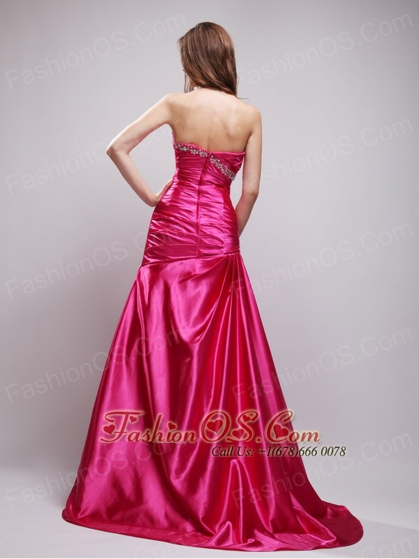 Hot Pink Column Sweetheart Brush Train Taffeta Beading and Ruch Prom Dress