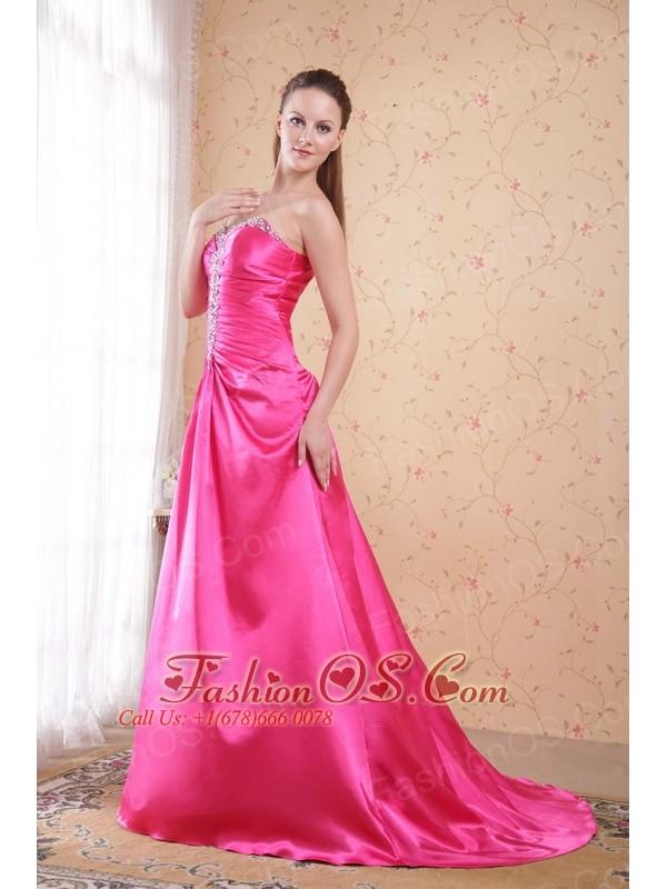 Hot Pink Empire Sweetheart Sweep / Brush Train Taffeta Beading Prom Dress