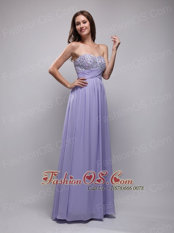 Lilac Empire Strapless Floor-length Chiffon Beading Prom Dress- $129.29
